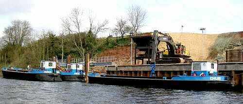 cemex sand and gravel barges on the river severn